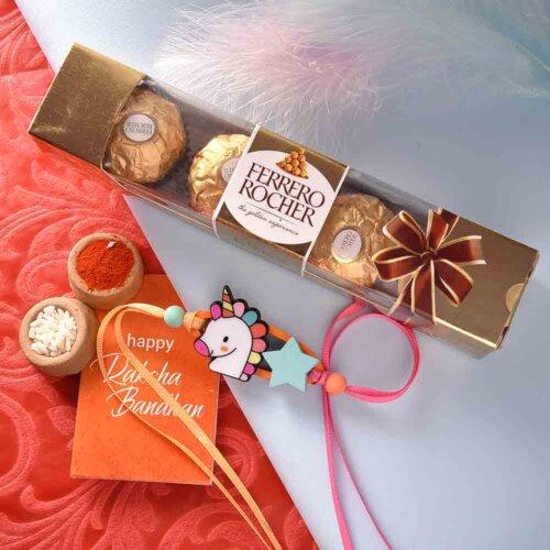 Kids Unicorn Rakhi With Ferrero Rocher (4 nos.)