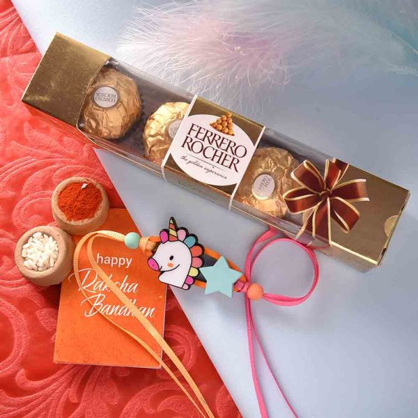Kids Unicorn Rakhi With Ferrero Rocher (3  pcs..)
