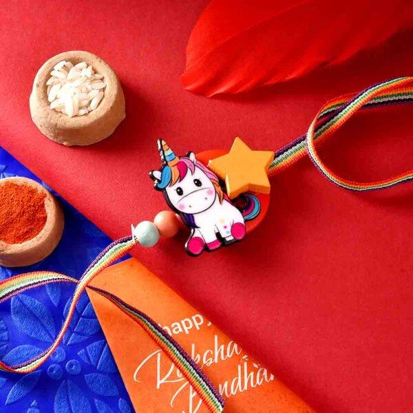 Unicorn Rakhi With A Multi-Color Strap & Ferrero Rocher (3  pcs..)