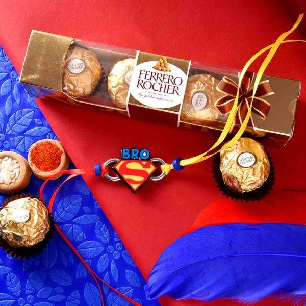 Superman Theme Rakhi With Ferrero Rocher (3  pcs..)