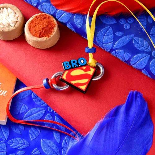 Superman Theme Rakhi With Ferrero Rocher (4 nos.)