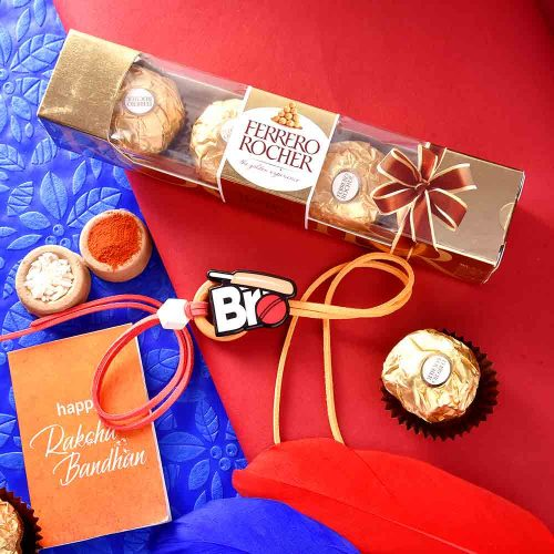 Cricket Theme Rakhi With Ferrero Rocher (4 nos.)