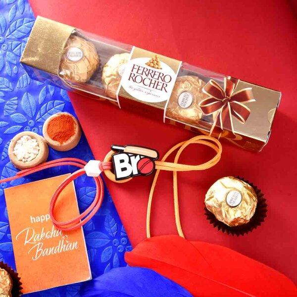 Cricket Theme Rakhi With Ferrero Rocher (3  pcs..)