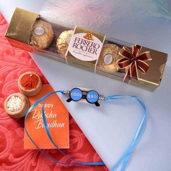 Specs Style Rakhi With Ferrero Rocher (3  pcs..)