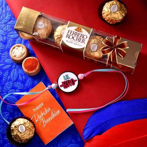 Cute LIL Bro Rakhi With Ferrero Rocher (3  pcs..)