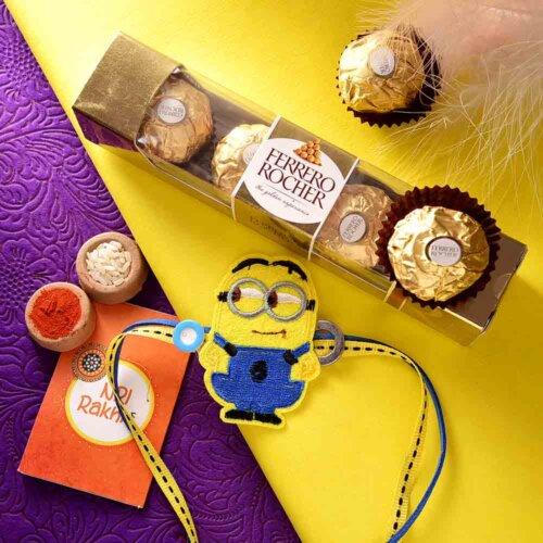 Yellow Minion Rakhi With Ferrero Rocher (3  pcs..)