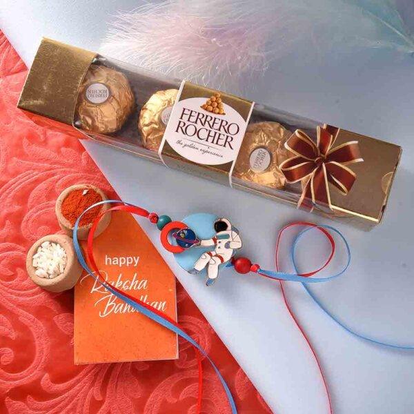 Space Theme Rakhi With Ferrero Rocher (3  pcs..)