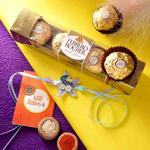 Crib in a  Star Rakhi With Ferrero Rocher (3  pcs..)