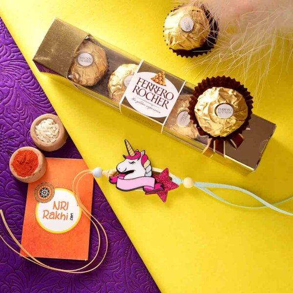 Unicorn Rakhi In A Soft Material With Ferrero Rocher (3  pcs..)