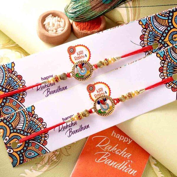 Pair of Ganpati Rakhis With Colorful Beads