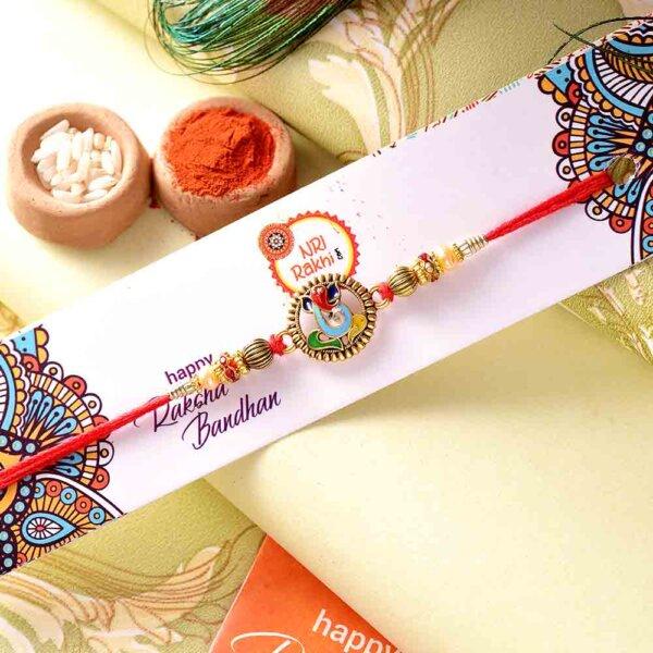 Ganpati Rakhi With Colorful Beads