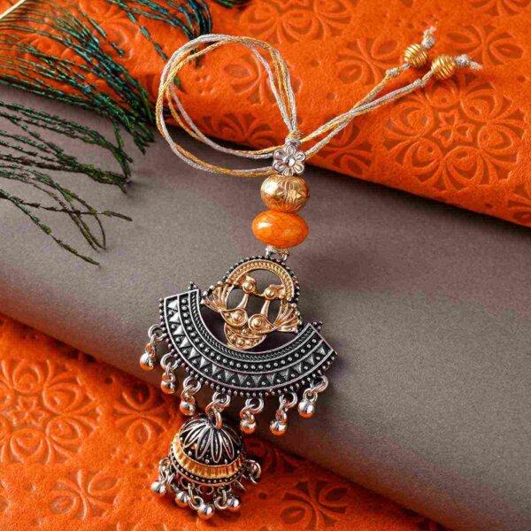 Unique silver oxidised with ghungroo bhaiya bhabhi rakhi