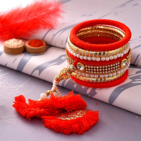 Set of Bangles and Lumba with Pearl work