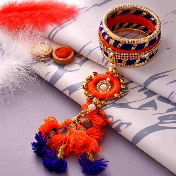 Set of bandhej bangles with Lumba