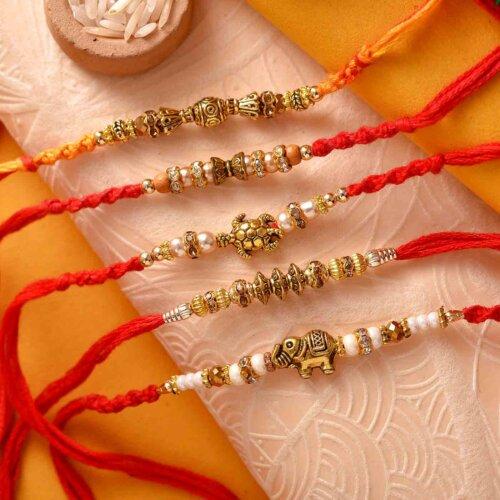 Set Of 5 Golden Work Rakhis