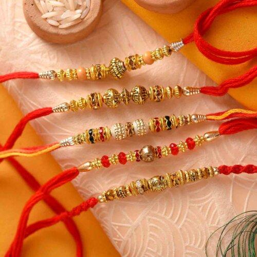 Set Of 5 Different Designs Rakhis