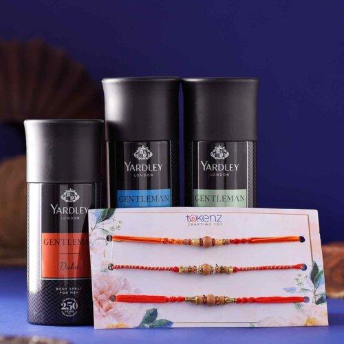 Set of 3 Beads & pearls Rakhi With Yardley Body Spray Hamper