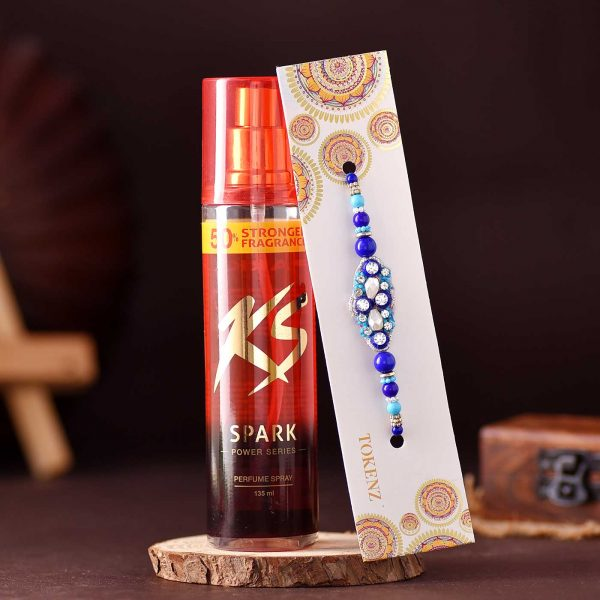 Antique Blue Beads rakhi & KS Sprak Perfume Spray Combo