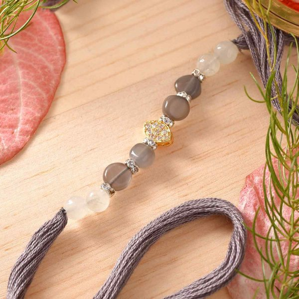 Grey Moonstone & Aquamarine Semi Precious Stone Rakhi