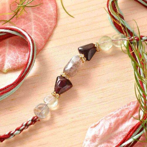 Flourite, Labrodrite, Garnet Semi Precious Stone Rakhi