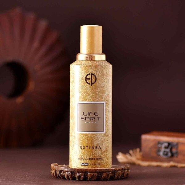 Royal Elephant Rudraksha Rakhi & Life Spirit Perfume Body Spray Combo