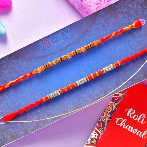 Set of 2 Beads & pearl Rakhi & Ramsons Deodrant Spray Combo