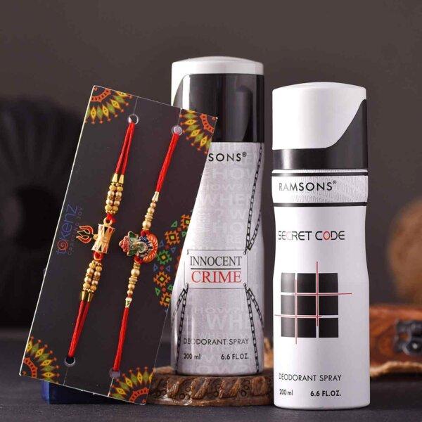 Set of 2 Shivay Ganesha Rakhi & Ramsons Deodrant Spray Combo