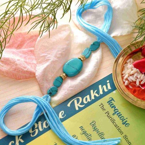 Turquoise Semi Precious Stone Rakhi