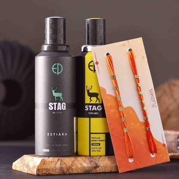 Set of 2 Mauli Rakhi & Stag Perfume Body Spray Combo