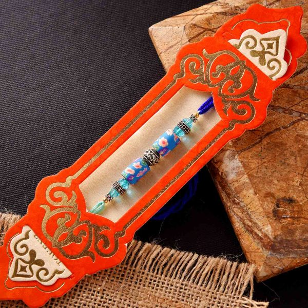 Classy Blue Beads & Oxidised Ring Rakhi KS Sprak Pocket Perfume Spray Combo
