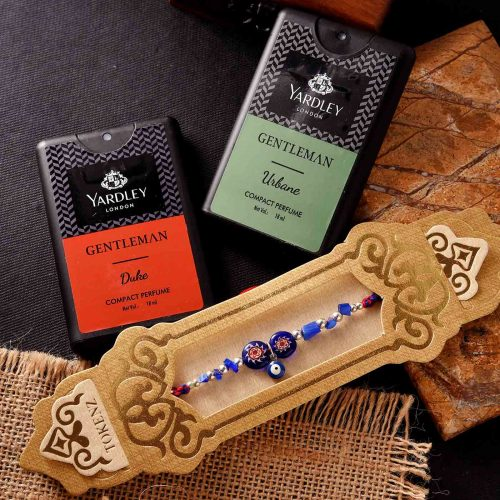 Evil Eye Rakhi & Yardley Gentleman Compact Perfume Combo