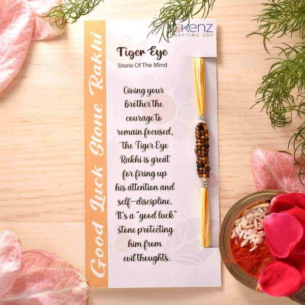 Tiger Eye Multistarnd Semi Precious Stone Rakhi