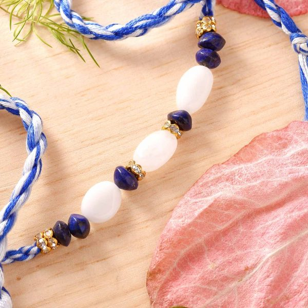 White Agate, Lapiz Lazulli Semi Precious Stone Rakhi