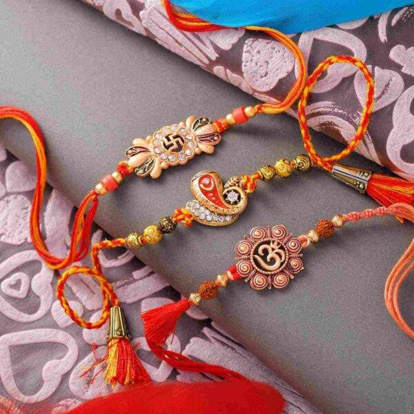 Set of 3 Om-Ganesha & swathik Rakhi with Magnum Pour Perfume Body Spray Hamper