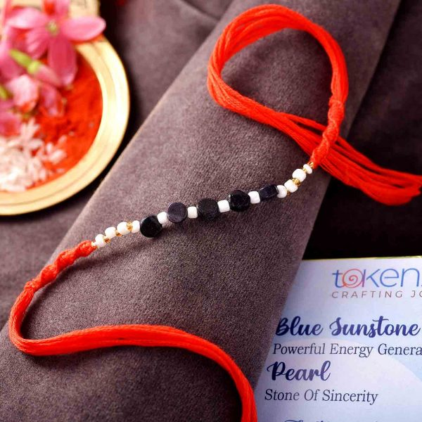 Blue Sunstone , Pearl Semi Precious Stone Rakhi