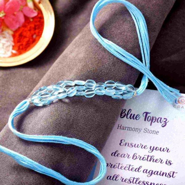Blue Topaz Semi Precious Stone Rakhi