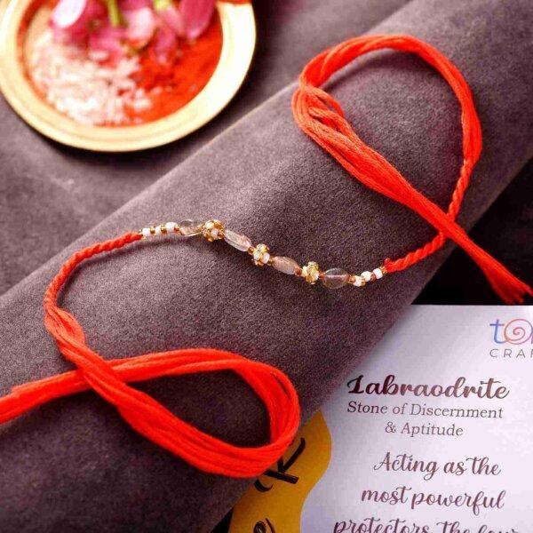 Labrodrite Semi Precious Stone Rakhi
