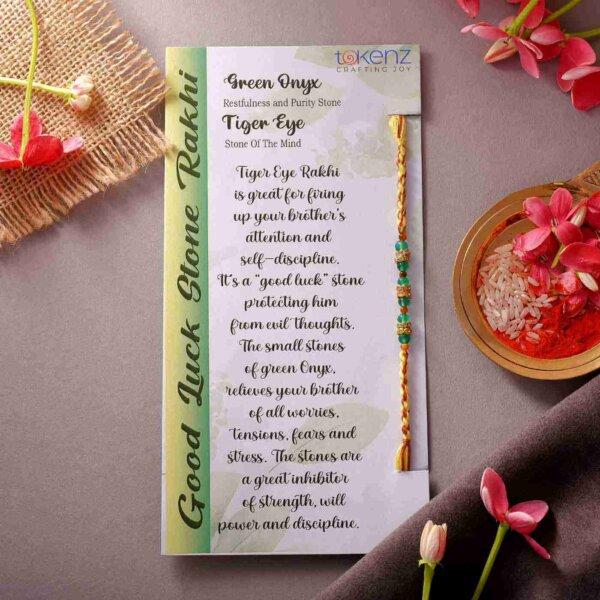 Green Onyx & Tiger Eye Semi Precious Stone Rakhi