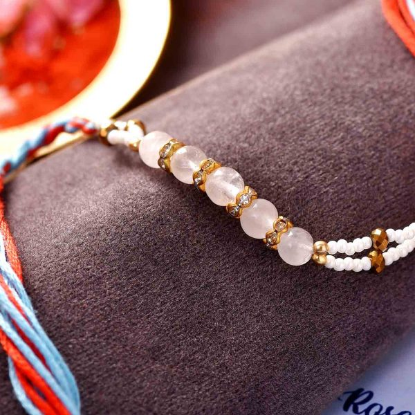 Rose Quartz & Pearl Semi Precious Stone Rakhi