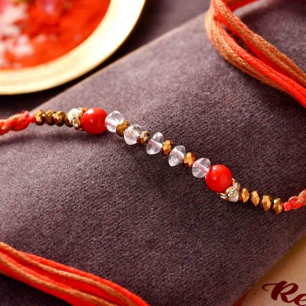 Red Jade Semi Precious Stone Rakhi