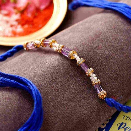 Amethyst & Pearl Semi Precious Stone Rakhi