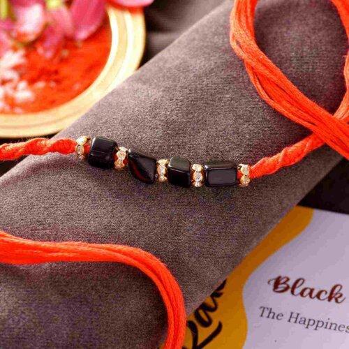 Black Onyx Semi Precious Stone Rakhi