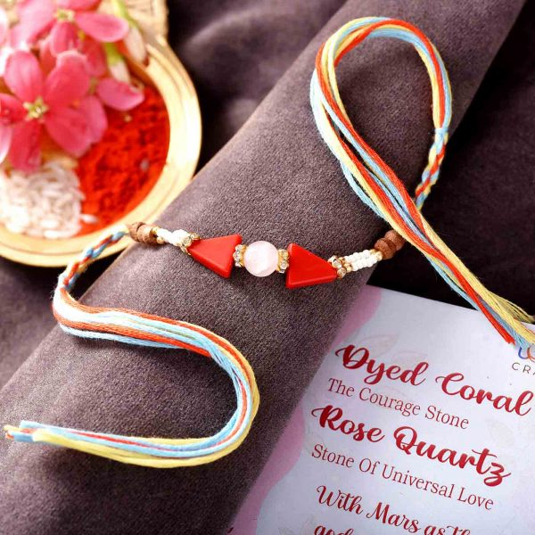 Dyed Coral & Rose Quarts Semi Precious Stone Rakhi