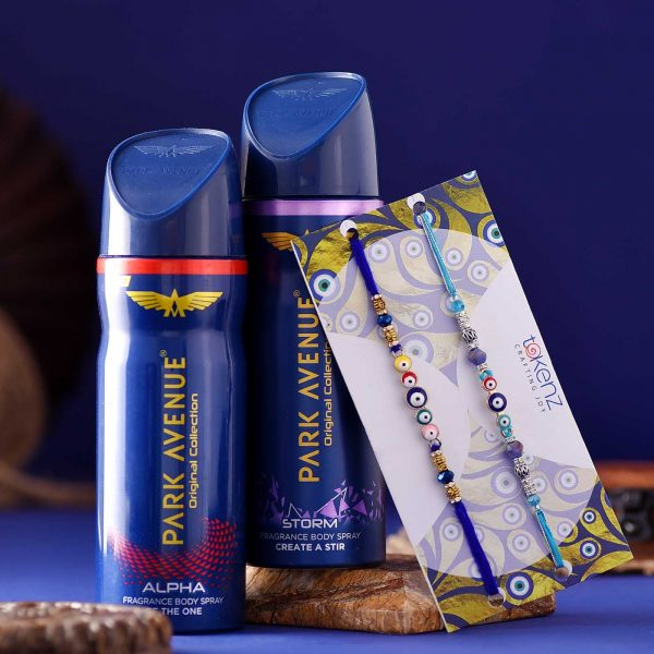 Set of 2 Evil Eye rakhi & Park Avenue Fragrance Body Spray Hamper