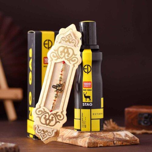 Antique Finish Ganesha Rakhi & Stag Perfume Body Spray Hamper