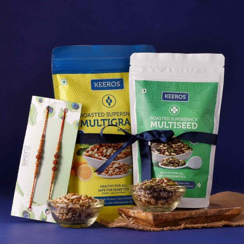 Health treat Gift basket with Rakhi